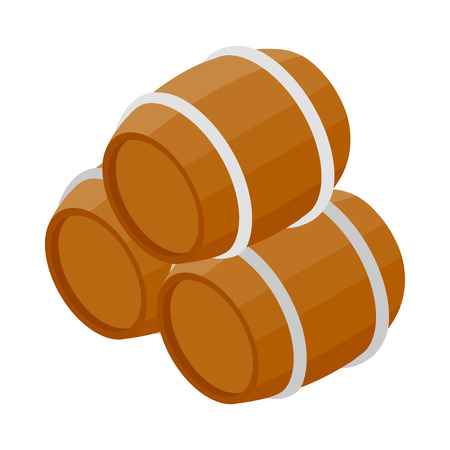 ferment: Three wooden barrels icon in isometric 3d style on a white background