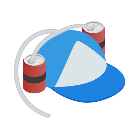 aluminum cans: Baseball cap and two aluminum cans with straw icon in isometric 3d style on a white background