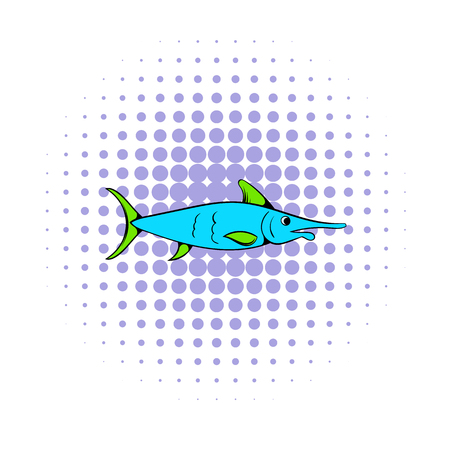 fishery: Fresh fish icon in comics style on a white background