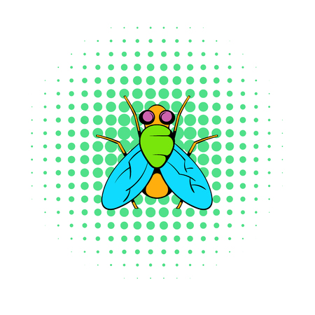 hum: Insect fly icon in comics style on a white background Illustration