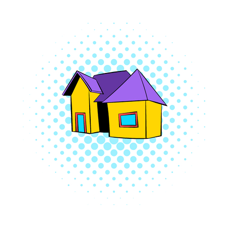 violet residential: Cottage icon in comics style on a white background