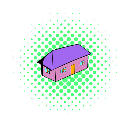 violet residential: Small cottage icon in comics style on a white background