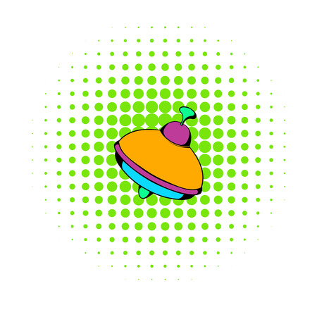 spinning top: Toy spinning top icon in comics style on a white background