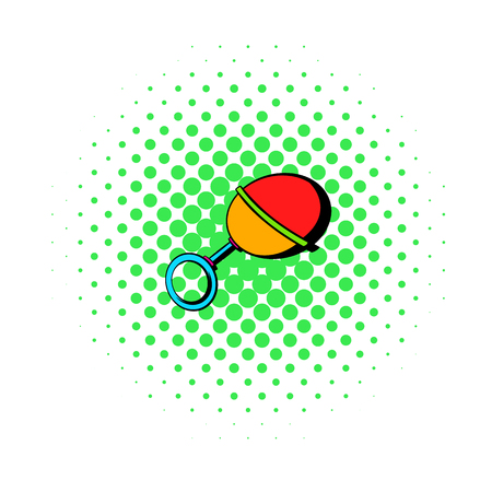 clack: Baby beanbag icon in comics style on a white background