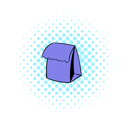 paperbag: Lunch bag icon in comics style on a white background