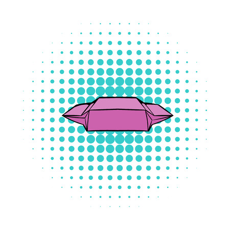 open sandwich: Lunch paper wrap icon in comics style on a white background