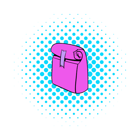 paperbag: Paper pink lunch bag icon in comics style on a white background Illustration