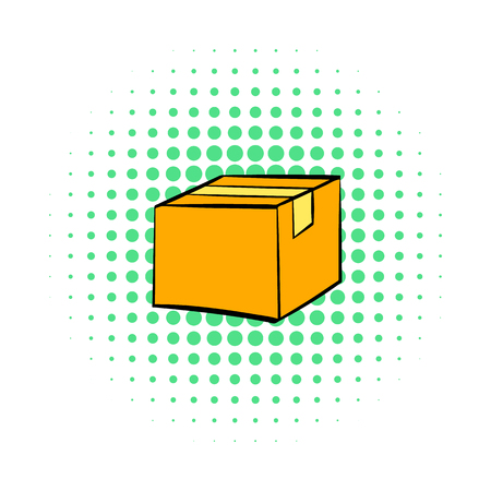corrugated box: Closed cardboard box taped up icon in comics style on a white background Illustration