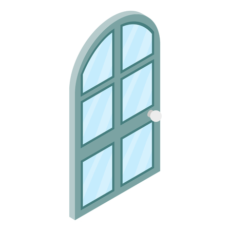 arched: Arched glass door icon in isometric 3d style isolated on white background. Arched glass door onto a terrace or balcony