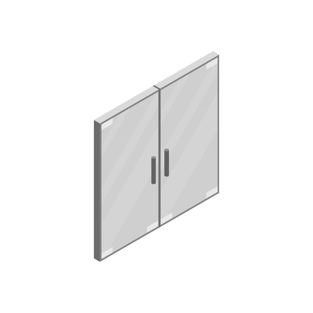 double glass: Transparent glass double office door icon in isometric 3d style isolated on white background. Transparent glass double office door for some commercial building interior