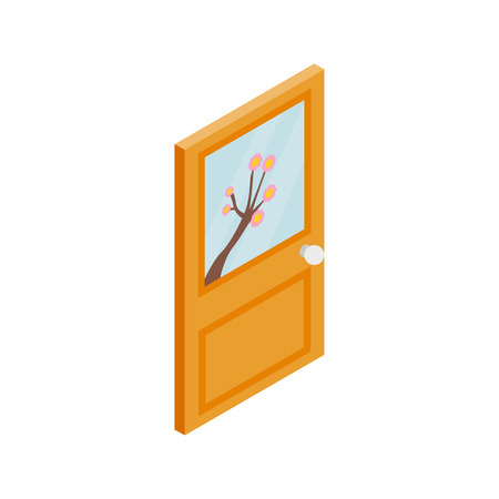 doorhandle: Wooden door with flower on glass icon in isometric 3d style isolated on white background