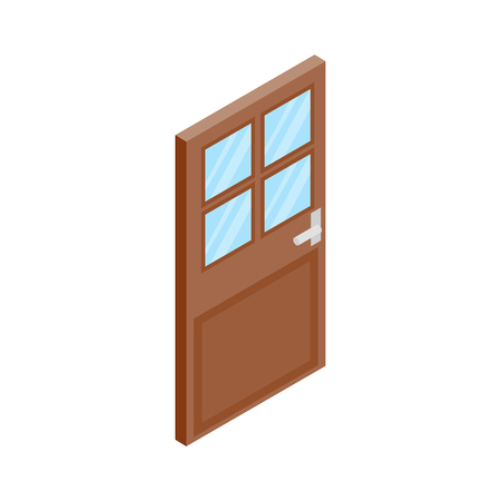 doorhandle: Wooden door with glass icon in isometric 3d style isolated on white background Illustration