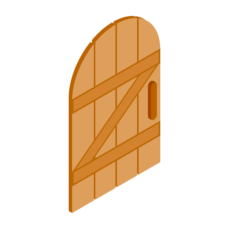 architectural styles: Arched wooden door icon in isometric 3d style isolated on white background Illustration