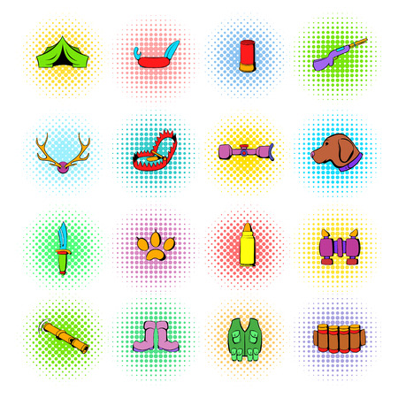 wildlife shooting: Hunting set icons in comics style on a white background Illustration
