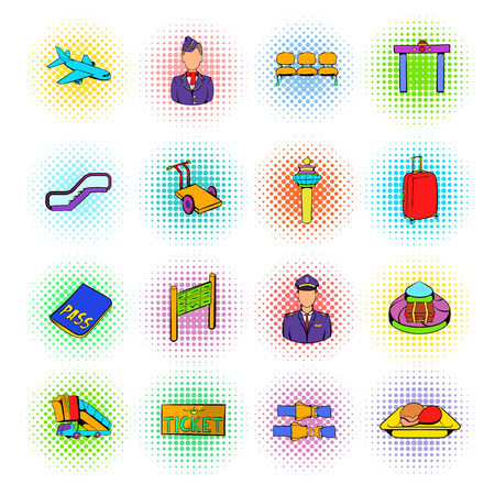 set going: Airport set icons in comics style on a white background Illustration