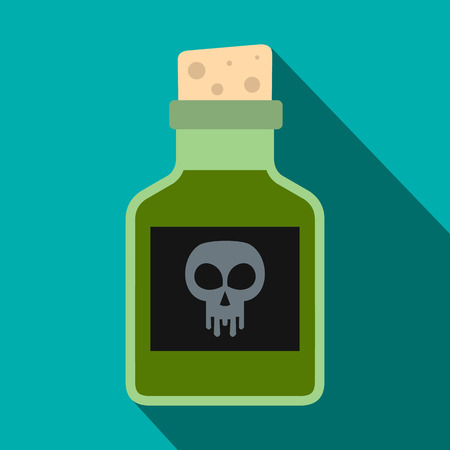 poison bottle: Poison bottle icon in flat style on green background