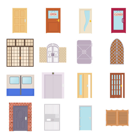 metal doors: Door icons set in cartoon style on a white background