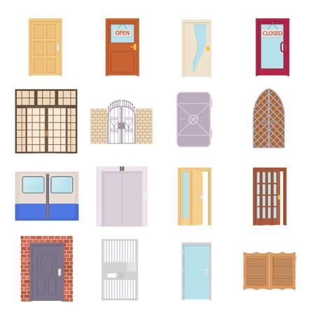 puertas de madera: Iconos de la puerta ubicado en el estilo de dibujos animados sobre un fondo blanco