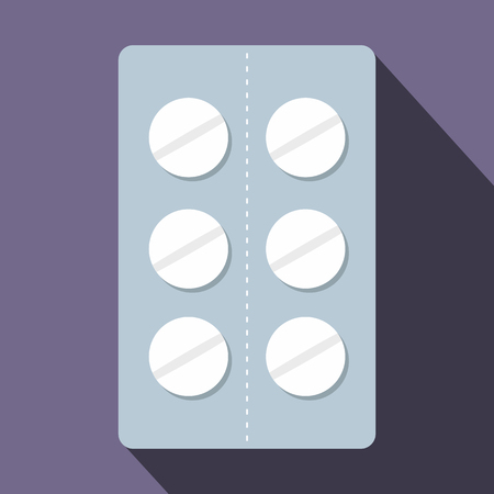 overdose: Pills in blister pack icon in flat style on purple background