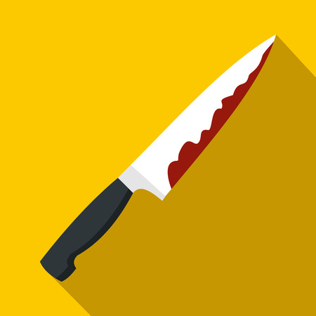 Knife with blood icon in flat style on yellow background