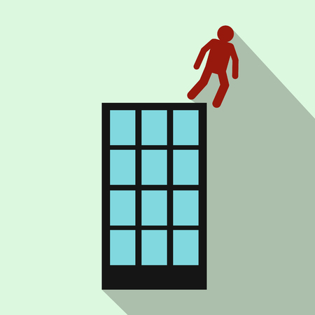multistory: Red man falling down of multistory building icon in flat style on light green background