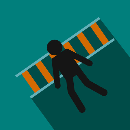 stupid body: Man laying on railroad tracks icon in flat style on green background