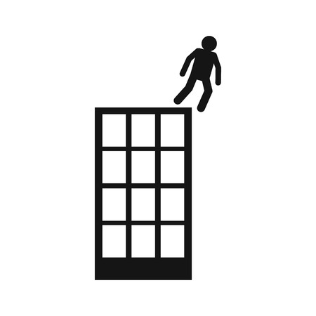 multistory: Man falling down of multistory building icon in black simple style isolated on white background