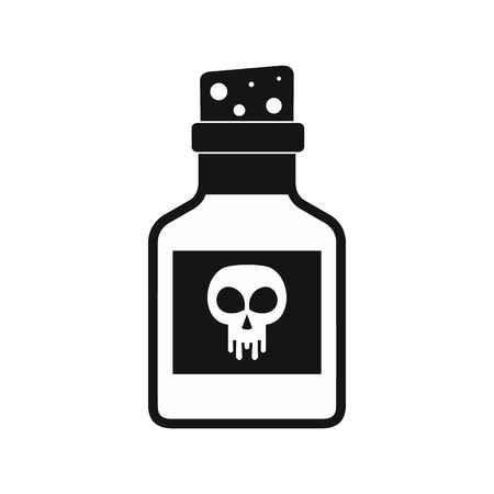 a substance vial: Poison bottle icon in black simple style isolated on white background Illustration