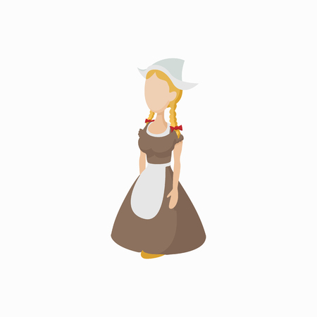dutch girl: Girl in a traditional Netherlands costume icon in cartoon style on a white background Illustration