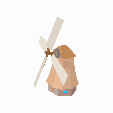 dutch landmark: Windmill icon in cartoon style on a white background