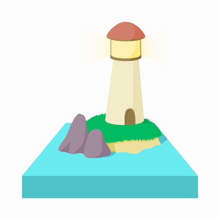dutch landmark: Lighthouse with red top in the Netherlands icon in cartoon style on a white background Illustration