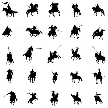 crusades: Knight and horse silhouette set on a white background