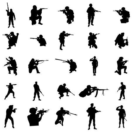 Militaire silhouetreeks die op een witte achtergrond wordt geïsoleerd Vector Illustratie