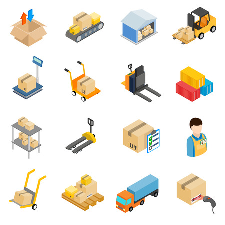 Warehouse logistic storage icons set in isometric 3d style on a white background Vectores