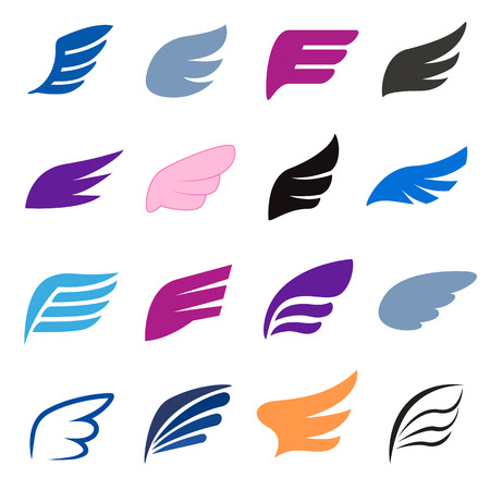 3d dove: Wing icons set in isomettric 3d style on a white background