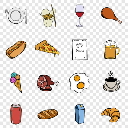 illustrate: Food set icons in hand drawn style on transparent background Illustration