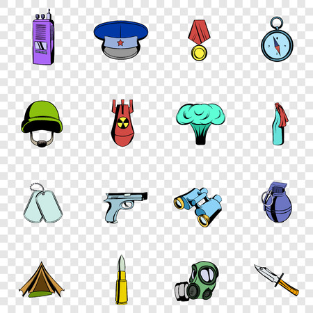 chaser: War set icons in hand drawn style on transparent background
