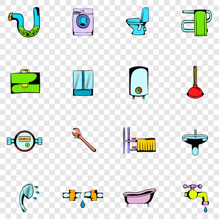 sanitary engineering: Sanitary engineering set icons in hand drawn style on transparent background