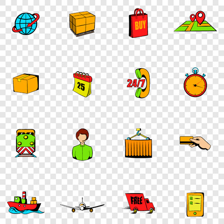 logistic: Logistics set icons in hand drawn style on transparent background Illustration