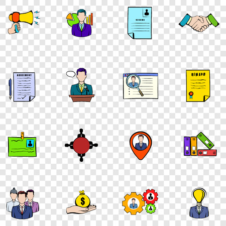 resources: Human resources set icons in hand drawn style on transparent background Illustration