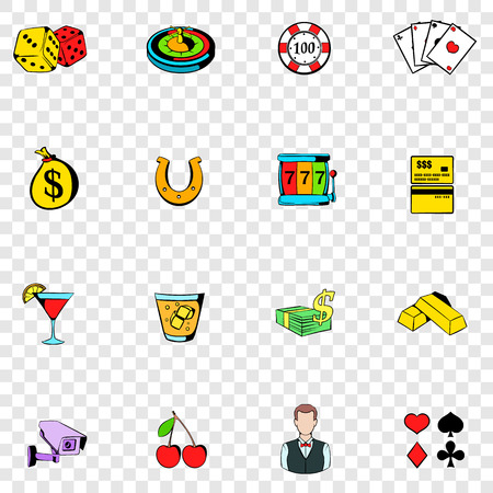 gambling game: Gambling set icons in hand drawn style on transparent background Illustration