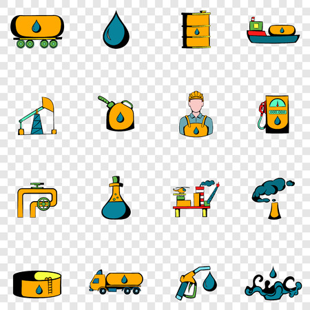 industry icons: Oil industry set icons in hand drawn style on transparent background