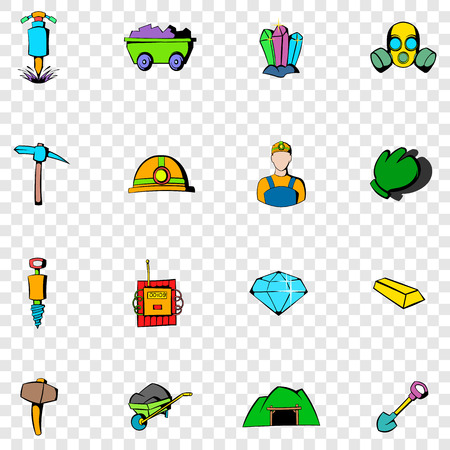 gold shovel: Mining set icons in hand drawn style on transparent background Illustration