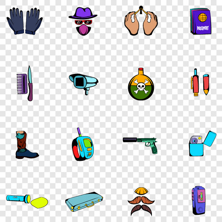 mysterious: Spy set icons in hand drawn style on transparent background