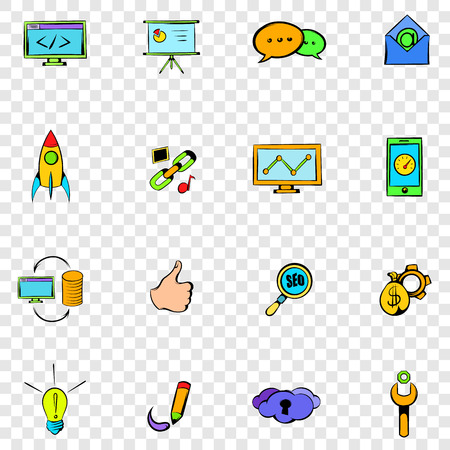 response time: Seo set icons in hand drawn style on transparent background Illustration
