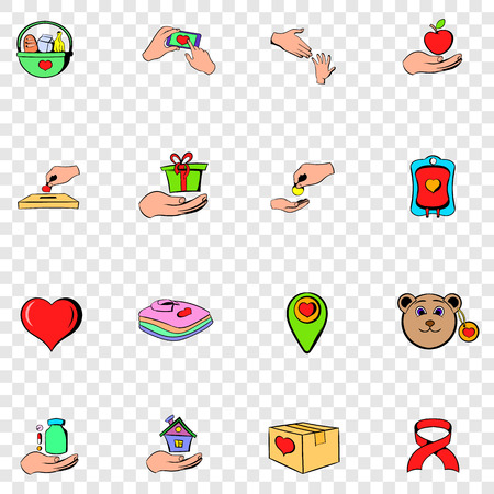philanthropist: Charity set icons in hand drawn style on transparent background