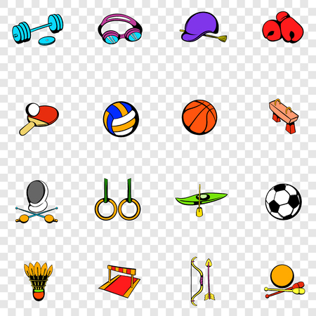 Sports equipment set icons in hand drawn style on transparent background Ilustração