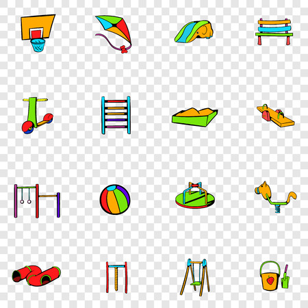 sandpit: Park playground set icons in hand drawn style on transparent background Illustration