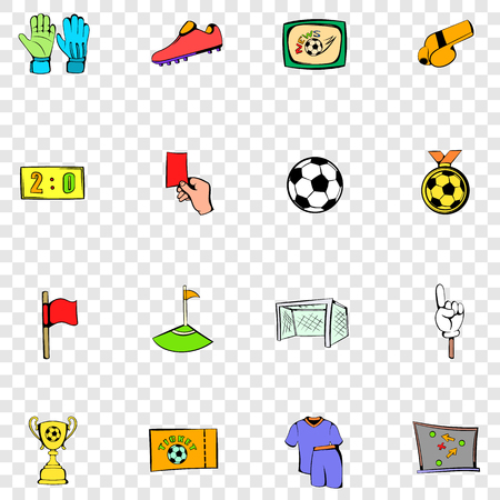 goal cage: Soccer set icons in hand drawn style on transparent background