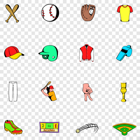 inning: Baseball set icons in hand drawn style on transparent background Illustration